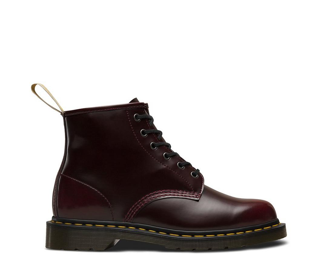 На фото ботинки Dr.Martens 101 Vegan Cherry Red Cambridge Brush