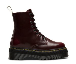 На фото ботинки Dr.Martens Jadon Vegan Cherry Red Cambridge Brush