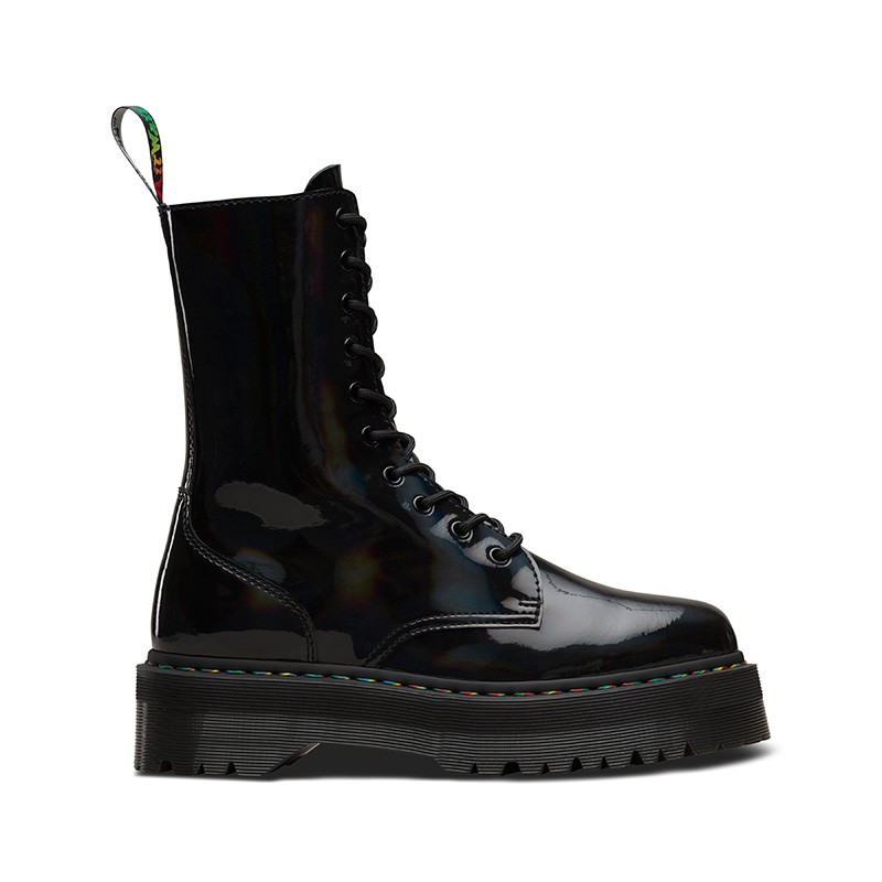 На фото ботинки Dr.Martens Jadon Hi Black Rainbow Patent
